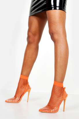 boohoo Fishnet Slingback Pointed Toe Heels