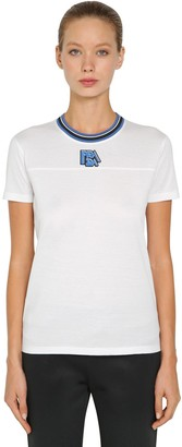 Prada Logo Cotton T-Shirt W/ Striped Collar