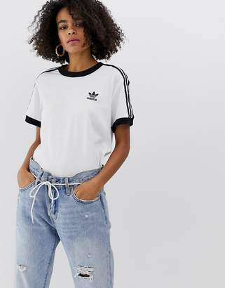 adidas 3 Stripe Ringer T-Shirt In White