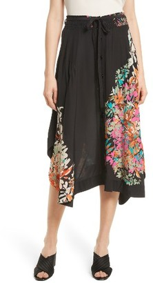 Women's Tracy Reese Smocked Waist Silk Skirt $298 thestylecure.com