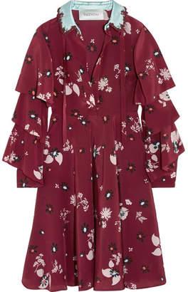 Valentino Ruffled Floral-print Silk Crepe De Chine Dress - Burgundy
