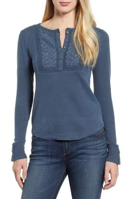 Lucky Brand Emboidered Yoke Cotton Thermal Top
