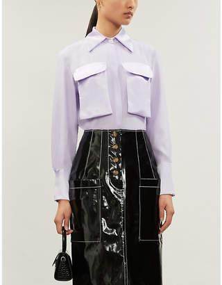N. DUO Violet crepe and satin shirt