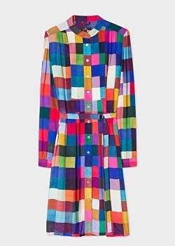Women's 'Colour-Block Check' Henley Shirt Dress
