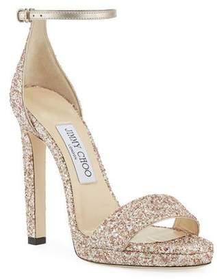Jimmy Choo Misty Glitter Platform Sandals
