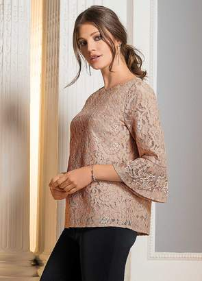 Together All Over Lace Top with Bead Detail Sleeve