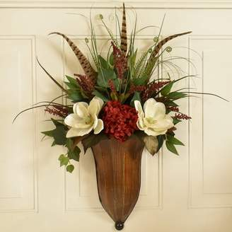 Floral Home Decor Faux Magnolia and Feather Wall Sconce