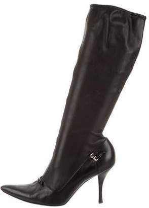 Prada Leather Pointed-Toe Mid-Calf Boots