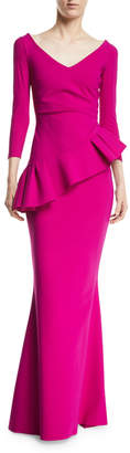 Chiara Boni Cicco Mermaid Gown w/ Asymmetric Peplum