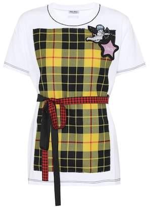 Miu Miu Embellished cotton T-shirt