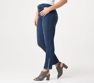 Susan Graver Petite High Stretch Denim Jeans w/ Zipper Detail