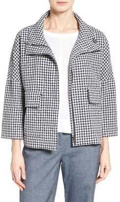 Women's Nordstrom Collection Check Funnel Neck Swing Jacket $329 thestylecure.com