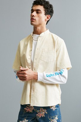 Urban Outfitters UO Acid Wash Band Collar Short Sleeve Button-Down Shirt $59 thestylecure.com