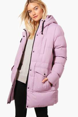 boohoo Longline Hooded Quilted Coat