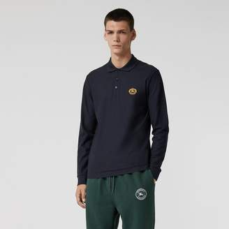 Burberry Long-sleeve Archive Logo Cotton Pique Polo Shirt, Blue