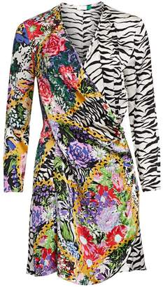 Rixo Abba Floral & Zebra Wrap Dress
