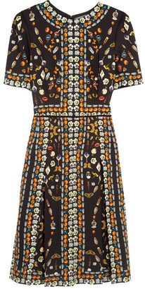 Alexander McQueen - Pleated Printed Crepe Dress - Black $3,295 thestylecure.com