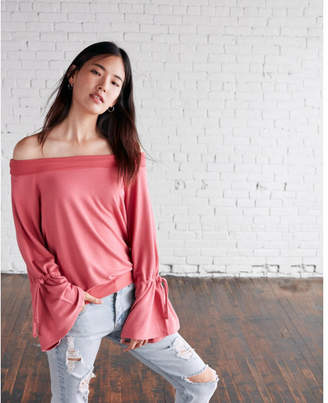 Express off the shoulder tie sleeve sweatshirt