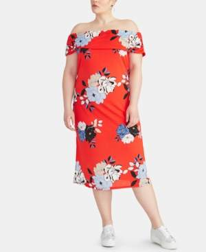 Rachel Roy Trendy Plus Size Floral Off-The-Shoulder Midi Dress