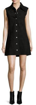 McQ Alexander McQueen Marianne Sleeveless Suede Mini Dress, Black $995 thestylecure.com