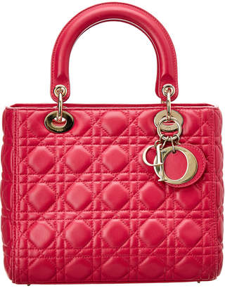 Christian Dior Pink Lambskin Leather Small Lady Tote