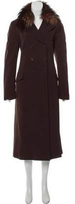 Prada Fur-Trimmed Long Coat