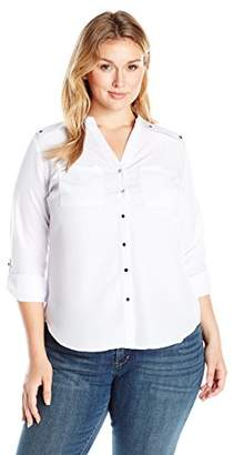 Notations Women's Plus Size Long Rolled to 3/4 Sleeve Madarin Collar Shirt