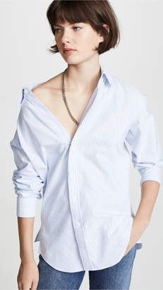 Alexander Wang Off the Shoulder Shirt with Mixed Chain Necklace
