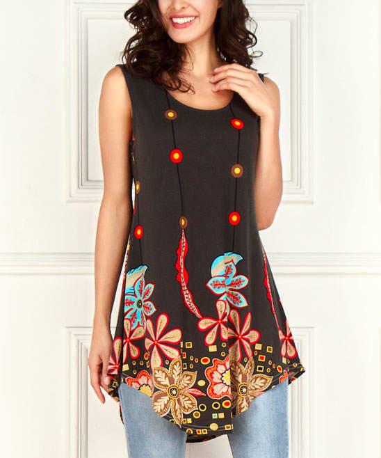 Black Floral Sleeveless Scallop-Hem Tunic - Women & Plus