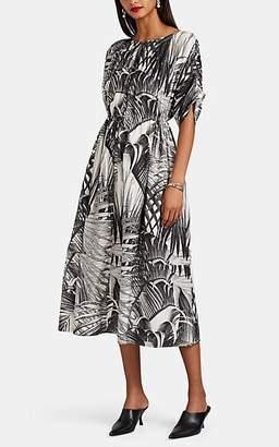 Co Women's Palm-Print Cotton-Silk Pleated Dress - Wht.&blk.
