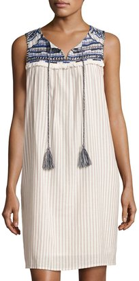 Neiman Marcus Embroidered-Yoke Shift Dress, Ivory $75 thestylecure.com