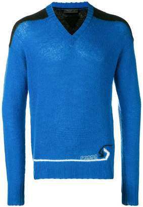 Prada panelled V-neck sweater