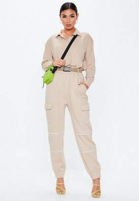 Missguided Sand High Waisted Buckle Front Joggers