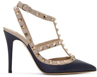 Valentino Navy and Pink Garavani Rockstud Cage Heels