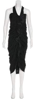 Lanvin Pin Tucked Asymmetrical Dress