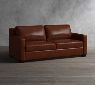 Pottery Barn York Square Arm Leather Sofa Collection