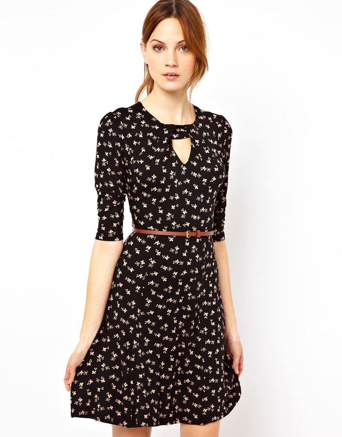 Warehouse Bow Print Dress