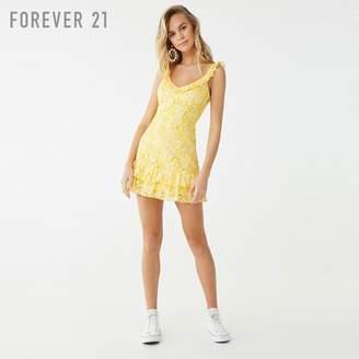 Forever 21 (フォーエバー 21) - Forever 21 フラワーレースフリルワンピース
