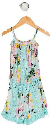 Flowers by Zoe Girls' Floral Print Sleeveless Romper