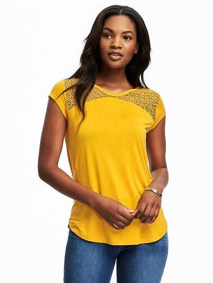 Relaxed Lace-Yoke Tee for Women $24.94 thestylecure.com