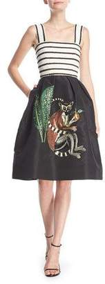 "Oscar de la Renta Beaded Striped Top with ""Monkey"" Embroidered Skirt Cocktail Dress"