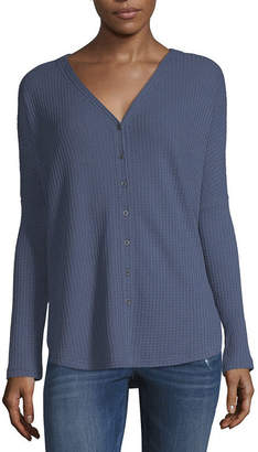 A.N.A Waffle Button Top - Tall
