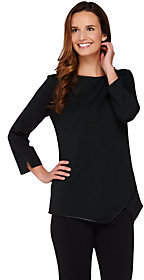 Dennis Basso Ponte Knit Top with Faux LeatherTrim