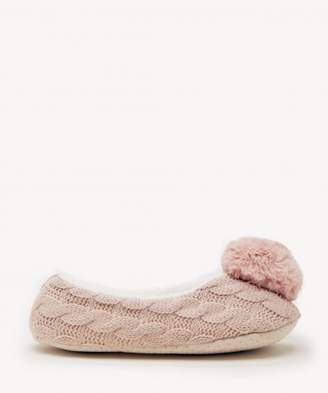 Sole Society Cable Knit Slippers with Faux Fur Pom Pom