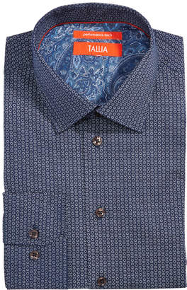 Tallia Men Slim-Fit Non-Iron Performance Stretch Hexagon Print Dress Shirt