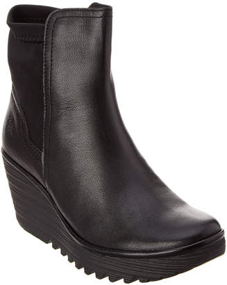 Fly London Yuan Leather Wedge Bootie