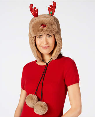 Charter Club Holly the Reindeer Trapper Hat