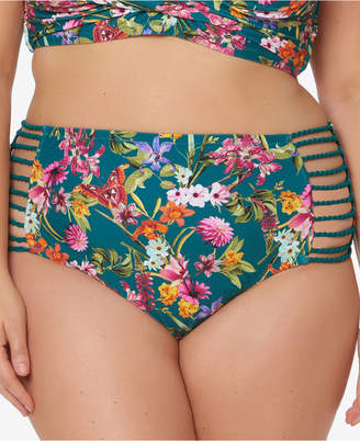 Jessica Simpson Plus Size Printed Strappy High-Waist Bikini Briefs Women's Swimsuit