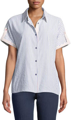 Neiman Marcus Roll-Tab Striped Button-Front Blouse