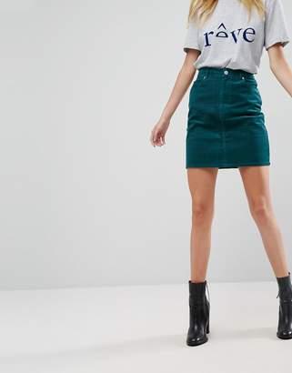 Asos Cord Original Skirt In Emerald Green